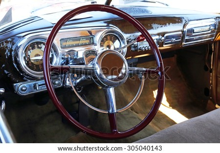 Old car cockpit - stock photo