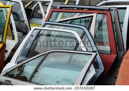 Old Car Doors - stock photo