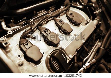 Old car engine - stock photo
