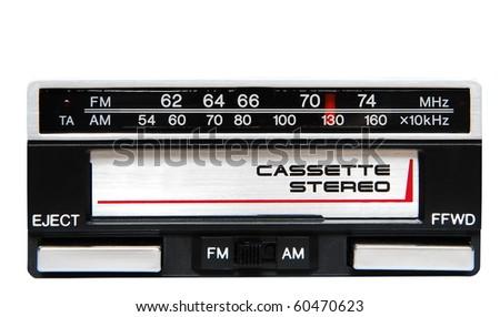 Old car radio isolated on white background - stock photo