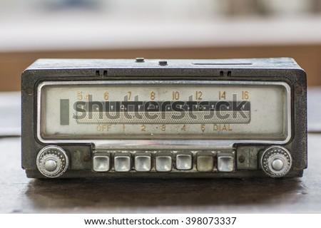 Old car radio, retro style - stock photo