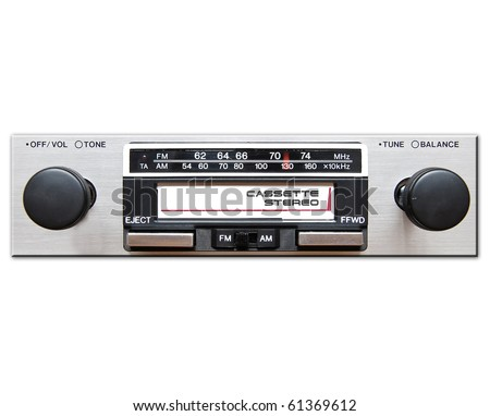 Old car radio, stereo cassette player isolated on white background - stock photo