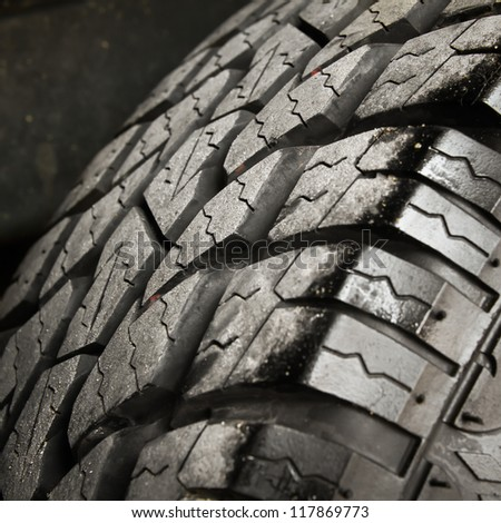 Old car tires. - stock photo