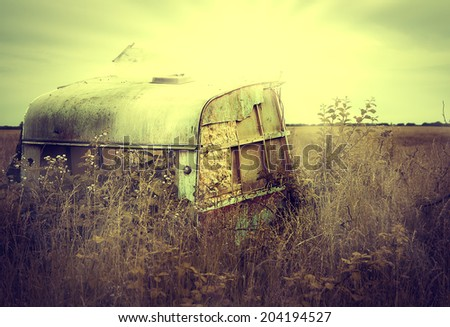 Old caravan in lincolnshire with view of wolds - stock photo