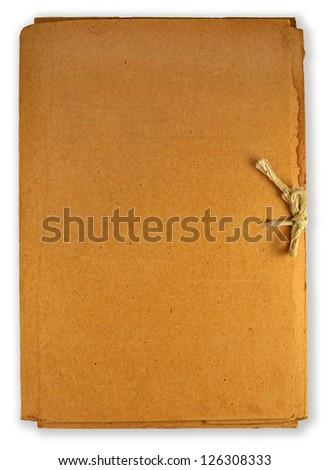old cardboard folder isolated on white - stock photo