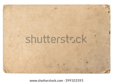 Old cardboard with edges isolated on white background. Vintage grungy paper texture - stock photo