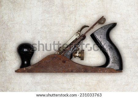 old carpenter tool planer, isolated - stock photo