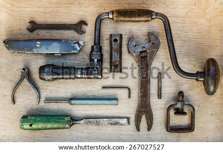 Old carpenter tools - stock photo