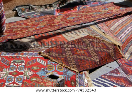 Old carpets in the street market in Tbilisi Old town, Republic of Georgia - stock photo