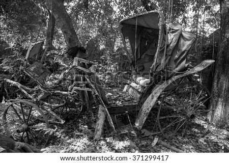 Old carriages black and white picture - stock photo