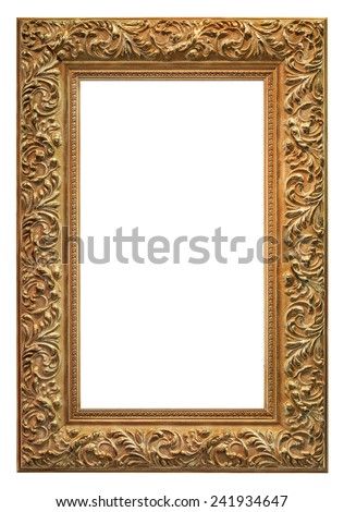 Old carved and gilded frame, isolated on white background - stock photo