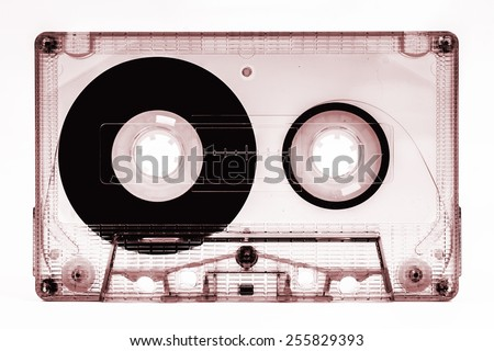 old cassette tape isolated - stock photo