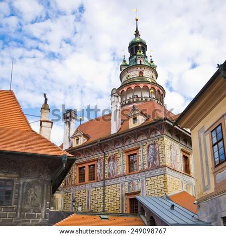 Old castle in Cesky Krumov - Czech Republic - stock photo