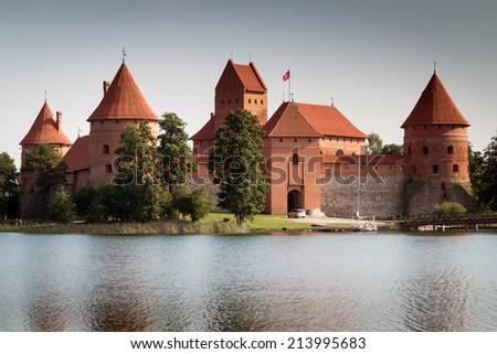 Old castle on the island, Trakai, Lithuania - stock photo