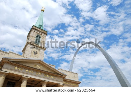 Old Cathedral Basilica and Gateway Arch in St. Louis, Missouri. - stock photo