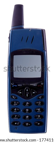 Old cell phone. Isolated with clipping path - stock photo