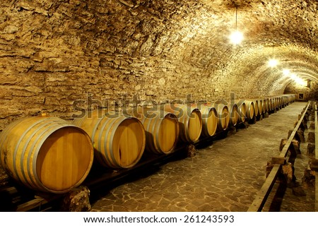 Old cellar of the winery with barrels of wine. - stock photo