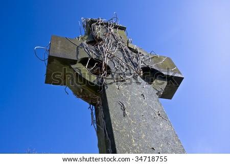 Old celtic cross in Belfast - stock photo