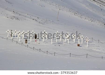 Old cemetery in Longyearbyen, Spitsbergen (Svalbard). Norway. Now it is forbidden to bury people. - stock photo