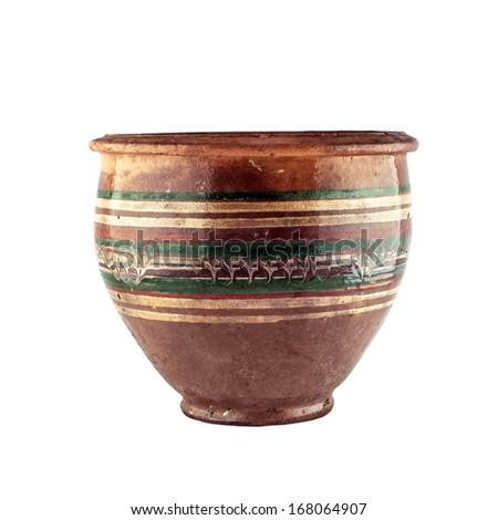 Old ceramic pot. Isolated on white background. - stock photo