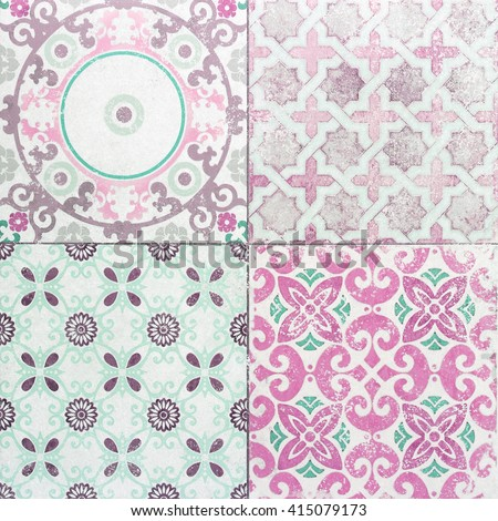 old ceramic tile wall patterns in the park public. - stock photo