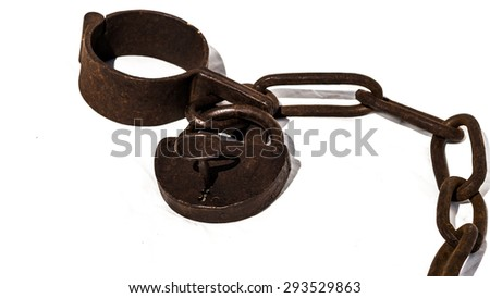 Old chains or shackles with padlock used for locking up prisoners or slaves between 1600 and 1800.  - stock photo