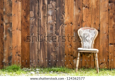 old chair with space for text - stock photo
