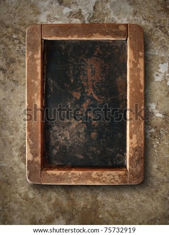 Old chalk board with wood frame - stock photo