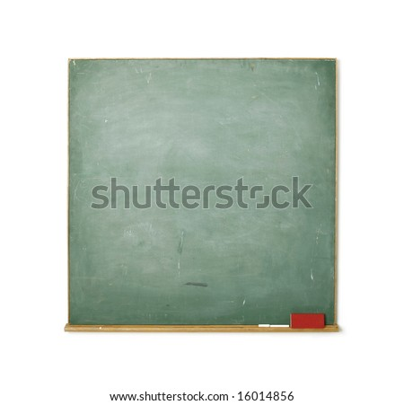 Old chalkboard isolated on white background - insert your own message - stock photo