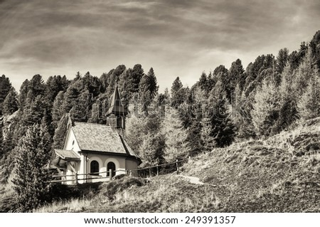 old chapel at the europeans alp - stock photo