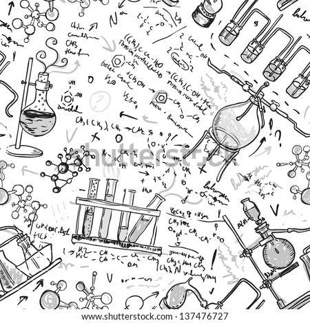 Old chemistry laboratory seamless pattern on white. Vector background. A raster illustration. - stock photo