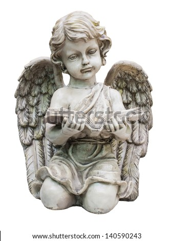 Old child cupid statue isolated on white background - stock photo