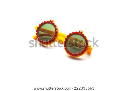 Old children sunglasses isolated on white background - stock photo