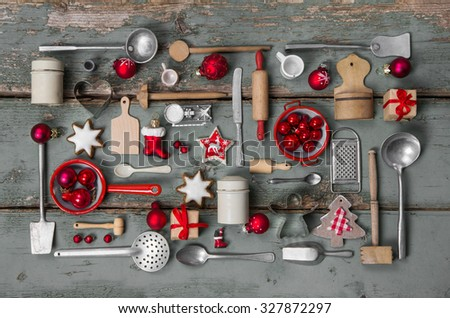 Old children toys of the kitchen. Vintage or country style with nostalgia decoration for Christmas. - stock photo