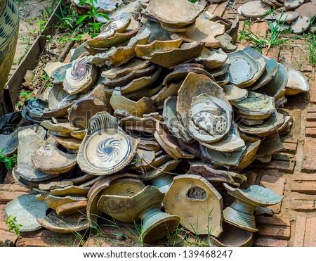 Old chinaware broken - stock photo