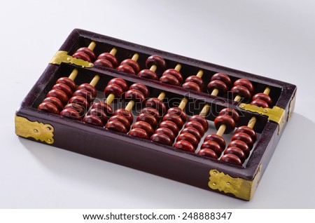 Old chinese abacus on white background. - stock photo