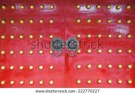 Old chinese door. Canon 5DMkII. - stock photo