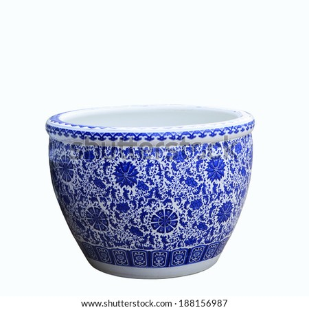 old chinese flowers pattern style painting on the ceramic bowl,porcelain isolated white object - stock photo