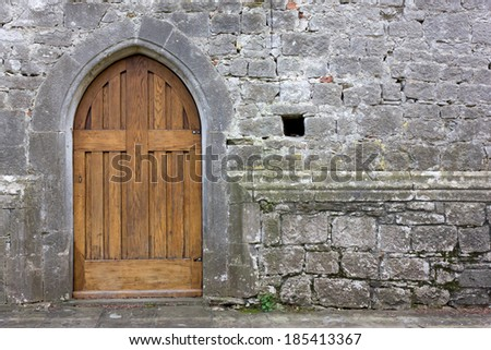 Old Church Back Door - stock photo