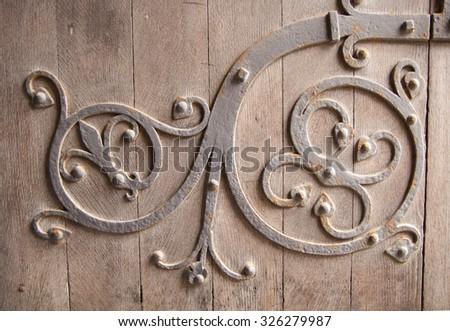 Old church door detail. Background  - stock photo