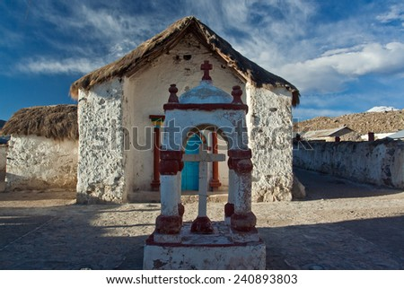 Old Church in Andean village Parinacota - stock photo