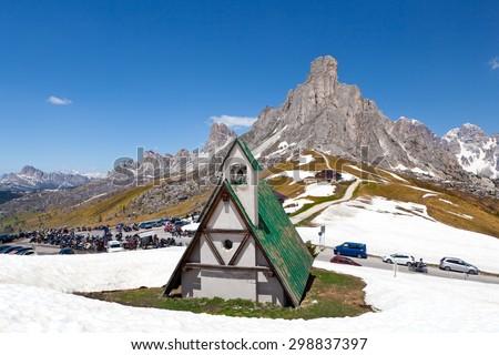 Old church in Dolomiti mountains - Passo Giau - stock photo