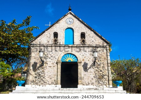 Old church in Les Saintes in Guadeloupe - stock photo