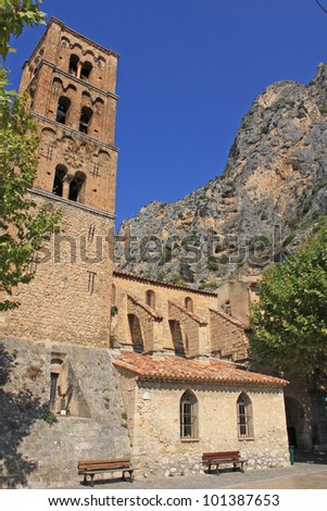 old church in Moustiers Ste Marie, Verdon, France - stock photo