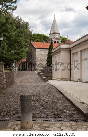 Old Church in Opatija - Croatia - enhanced colors - stock photo
