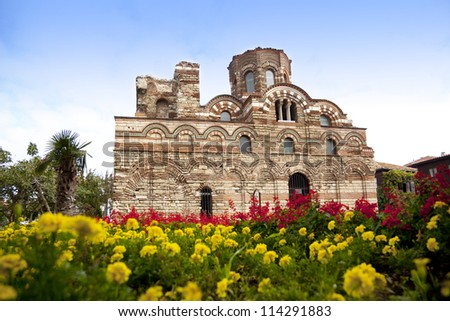 Old church Pantocrator Christos in Nessebar old Bulgarian town - stock photo