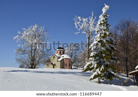 old church snow landscape with frozen trees at Osogovo mountain, Macedonia - stock photo