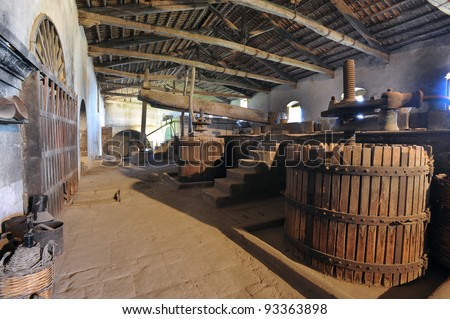 old cider in a mill for wine in sicily, italy, europe - stock photo