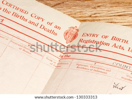 Old, circa 1948, blank British Birth Certificate showing the main headings. - stock photo