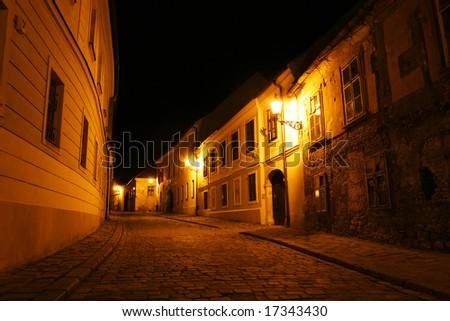 Old city at night (Bratislava, Slovakia) - stock photo